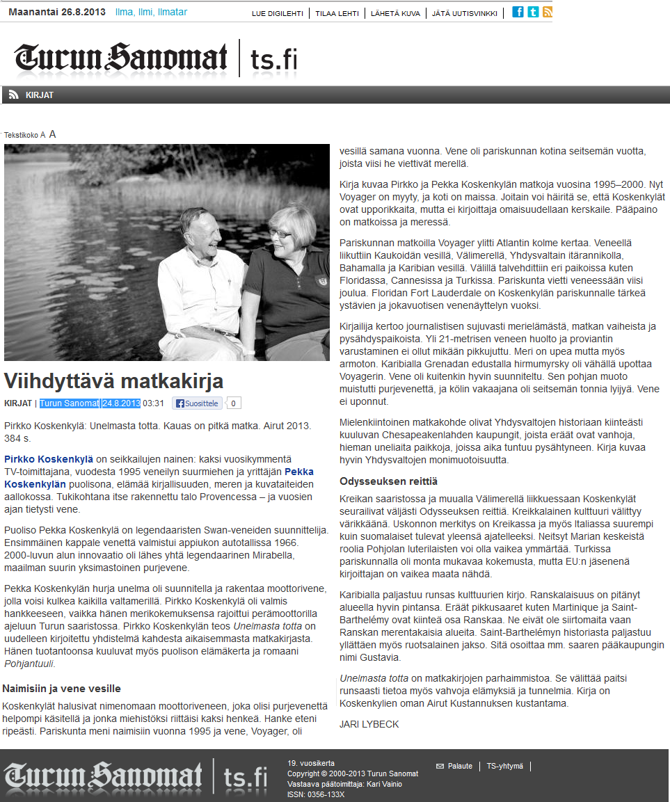 Viihdyttävä matkakirja -Turun Sanomat 24.8.2013
